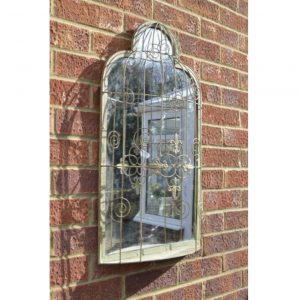 Bird Cage Outdoor Garden Mirror 70x40cm