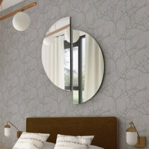 Crescent Round Split Wall Mirror 90x90cm