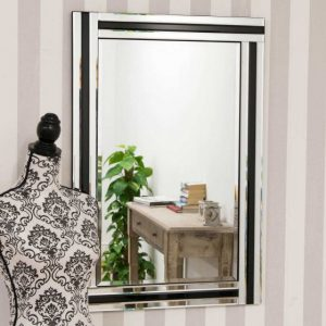 Tavistock Black Glass Mirror 90x60cm