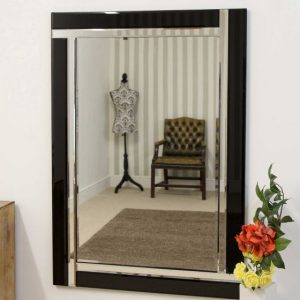 Exminster Black Glass Mirror 100x70cm