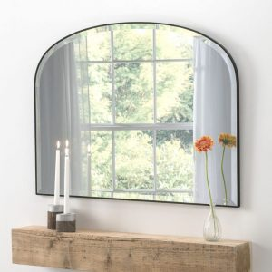 Holland Black Over Mantle Mirror 93x71cm
