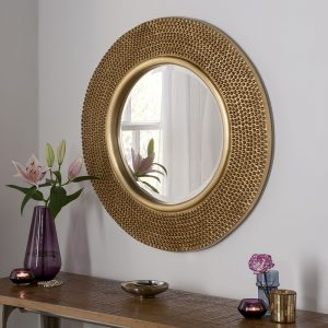 Madrid Round Gold Studded Mirror 79x79cm