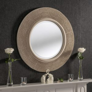 Madrid Round Ivory Studded Mirror 79x79cm