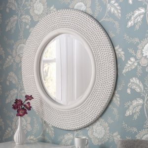 Madrid Round White Studded Mirror 79x79cm