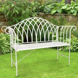 White Rose Iron Outdoor Garden Seat