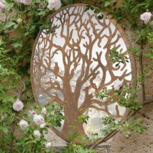 Winter Tree Round Garden Mirror 60x60cm